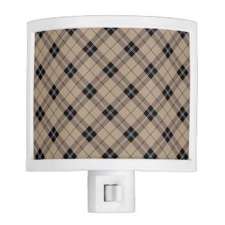Designer plaid /tartan pattern brown and Black Night Lite