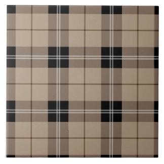 Designer plaid /tartan pattern brown and Black Tile