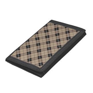 Designer plaid /tartan pattern brown and Black Trifold Wallets