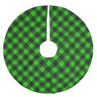 Designer plaid / tartan pattern green and black brushed polyester tree skirt