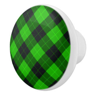 Designer plaid / tartan pattern green and black ceramic knob