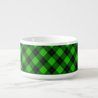Designer plaid / tartan pattern green and black chili bowl