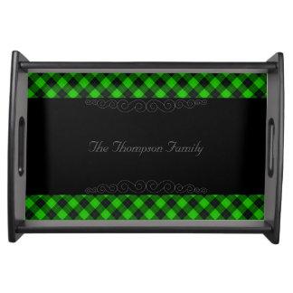 Designer plaid / tartan pattern green and black serving tray