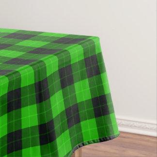 Designer plaid / tartan pattern green and black tablecloth