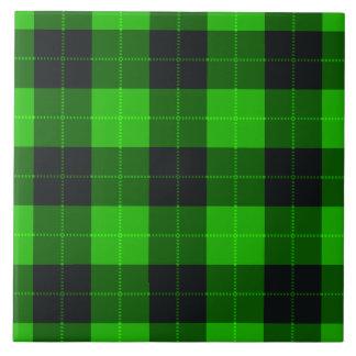 Designer plaid / tartan pattern green and black tile