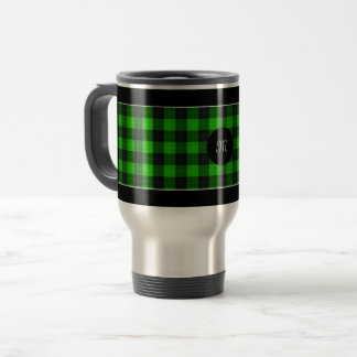 Designer plaid / tartan pattern green and black travel mug