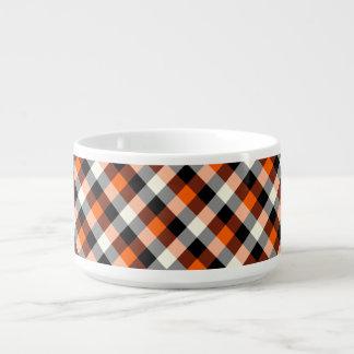 Designer plaid /tartan pattern orange and Black Bowl