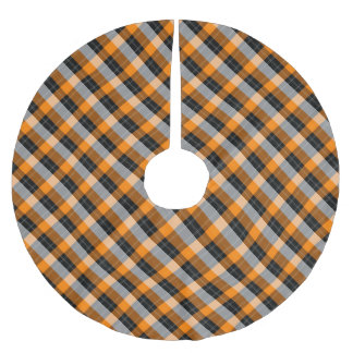 Designer plaid /tartan pattern orange and Black Brushed Polyester Tree Skirt