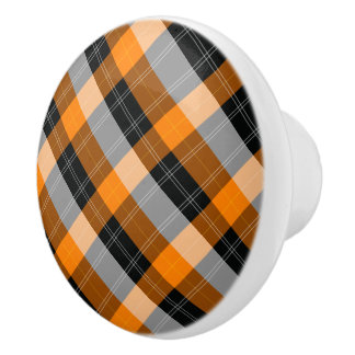 Designer plaid /tartan pattern orange and Black Ceramic Knob