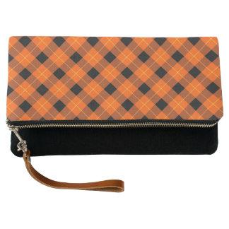 Designer plaid /tartan pattern orange and Black Clutch