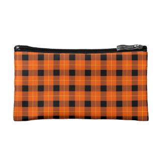 Designer plaid /tartan pattern orange and Black Cosmetic Bag
