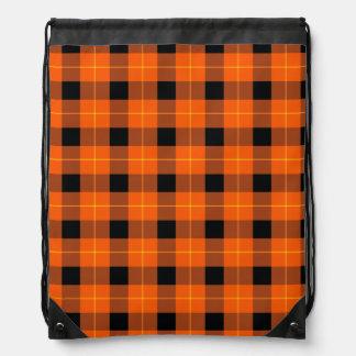 Designer plaid /tartan pattern orange and Black Drawstring Bag