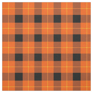 Designer plaid /tartan pattern orange and Black Fabric