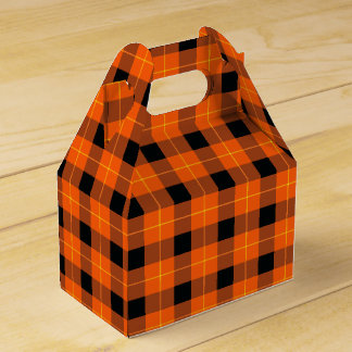 Designer plaid /tartan pattern orange and Black Favor Box