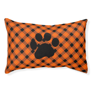 Designer plaid /tartan pattern orange and Black Pet Bed