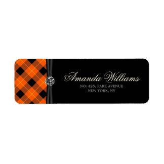 Designer plaid /tartan pattern orange and Black Return Address Label