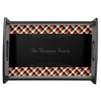 Designer plaid /tartan pattern orange and Black Serving Tray