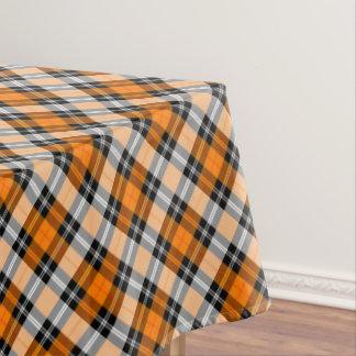 Designer plaid /tartan pattern orange and Black Tablecloth