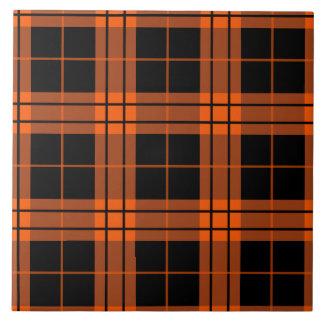 Designer plaid /tartan pattern orange and Black Tile