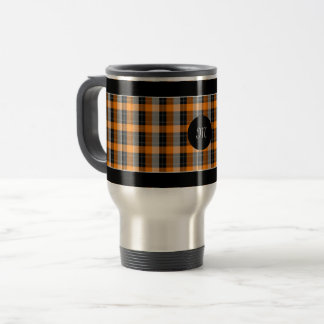 Designer plaid /tartan pattern orange and Black Travel Mug