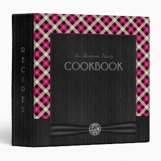 Designer plaid / tartan pattern pink and black 3 ring binders
