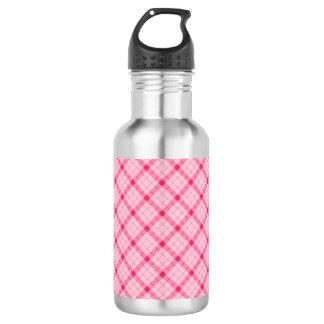 Designer plaid / tartan pattern pink and black 532 ml water bottle