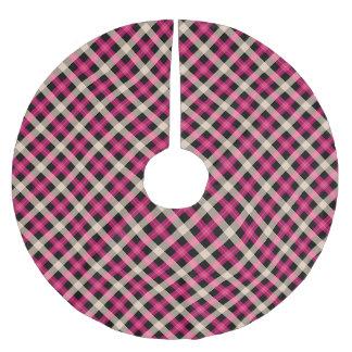Designer plaid / tartan pattern pink and black brushed polyester tree skirt