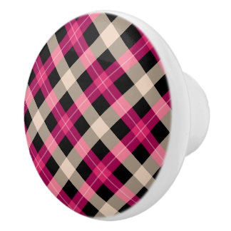 Designer plaid / tartan pattern pink and black ceramic knob