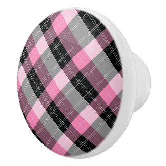 Designer plaid /tartan pattern pink and Black Ceramic Knob