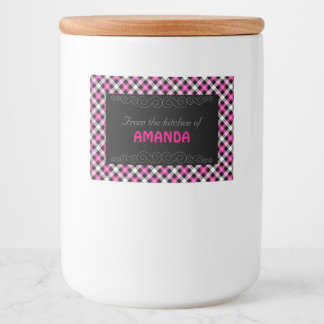 Designer plaid / tartan pattern pink and black food label