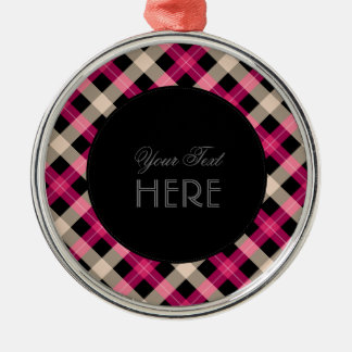 Designer plaid / tartan pattern pink and black metal ornament