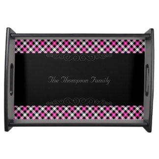 Designer plaid / tartan pattern pink and black serving tray