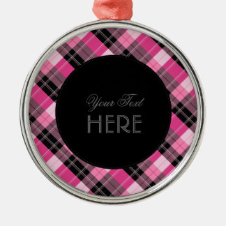 Designer plaid /tartan pattern pink and Black Silver-Colored Round Ornament