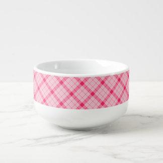Designer plaid / tartan pattern pink and black soup mug