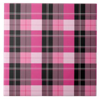 Designer plaid /tartan pattern pink and Black Tile