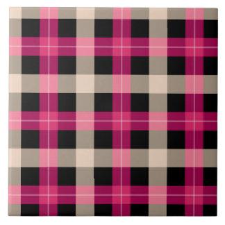 Designer plaid / tartan pattern pink and black tile