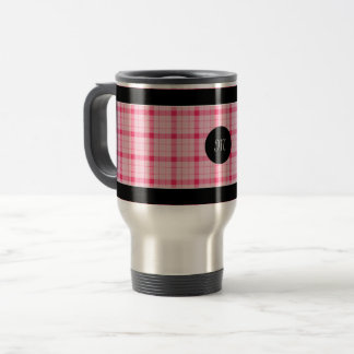Designer plaid / tartan pattern pink and black travel mug