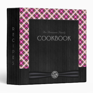 Designer plaid / tartan pattern pink and black vinyl binder