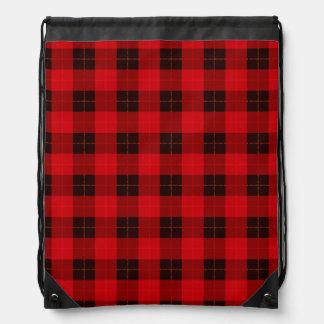 Designer plaid / tartan pattern red and black drawstring bag
