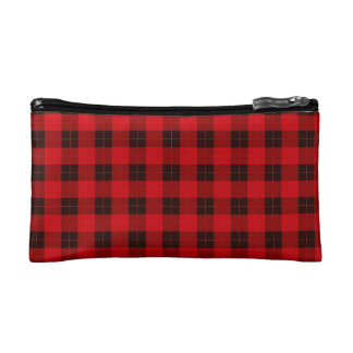 Designer plaid / tartan pattern red and black makeup bag
