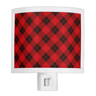 Designer plaid / tartan pattern red and black night lites
