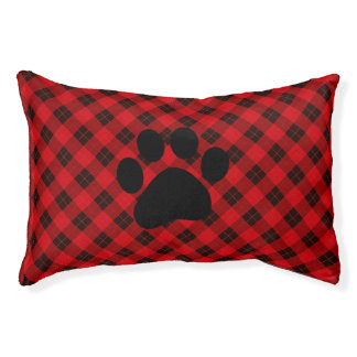 Designer plaid / tartan pattern red and black pet bed