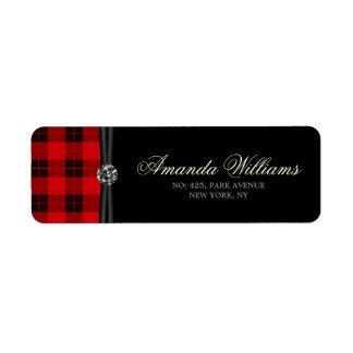 Designer plaid / tartan pattern red and black return address label