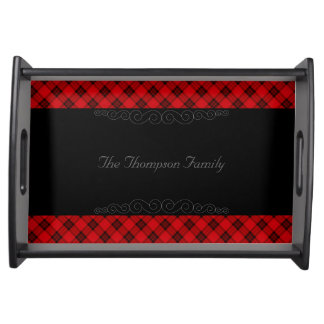Designer plaid / tartan pattern red and black serving tray