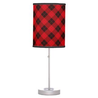 Designer plaid / tartan pattern red and black table lamp