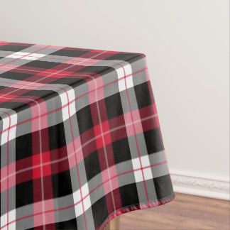 Designer plaid / tartan pattern red and black tablecloth