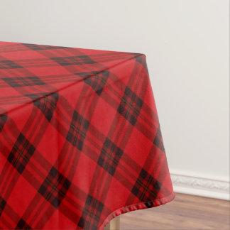 Designer plaid / tartan pattern red and black tablecloth