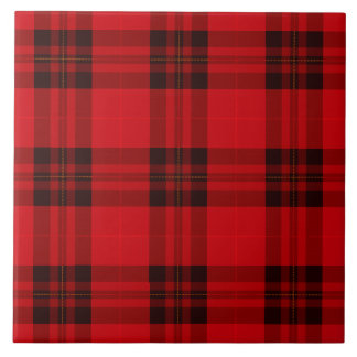 Designer plaid / tartan pattern red and black tile