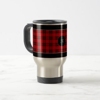 Designer plaid / tartan pattern red and black travel mug