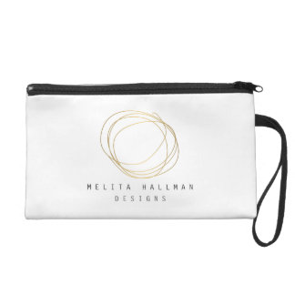 Designer Scribble Logo in Gold Personalized Wristlet Clutches